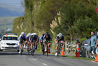 Riders sprint to the finish of the Under-23 and Senior Men's road race, Carterton-Martinborough-Gladstone circuit. Day three of the 2018 NZ Age Group Road Cycling Championships in Carterton, New Zealand on Sunday, 22 April 2018. Photo: Dave Lintott / lintottphoto.co.nz