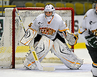 25 October 2008: University of Vermont Catamount goaltender Kristen Olychuck, a Junior from Kelowna, B.C., in action against the Cornell University Big Red at Gutterson Fieldhouse, in Burlington, Vermont. The Big Red defeated the Catamounts 5-1 to sweep their 2-game series in Vermont...Mandatory Photo Credit: Ed Wolfstein Photo