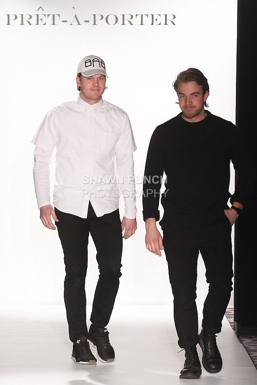 Fashion designers Benjamin Martinsen and Filip Wibe thank audience for attending their GRAA Fall Winter 2015 collection fashion show, during the Pret-A-Porter Fall 2015 fashion show for  Fashion Gallery New York Fashion Week Fall 2015.