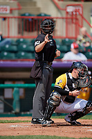 Umpire Mike Savakinas calls a strike during an Eastern League game between the Altoona Curve and Erie SeaWolves on June 4, 2019 at UPMC Park in Erie, Pennsylvania.  Altoona defeated Erie 3-0.  (Mike Janes/Four Seam Images)