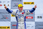 Martin Rump of Estonia and Cebu Pacific Air by KCMG celebrates after wining the Formula Masters China Series as part of the 2015 Pan Delta Super Racing Festival at Zhuhai International Circuit on September 20, 2015 in Zhuhai, China.  (Photo by Power Sport Images/Getty Images)
