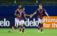 CARSON, CA - SEPTEMBER 19: Cole Bassett #26 of the Colorado Rapids celebrates his goal with team mate Kellyn Acosta #10 during a game between Colorado Rapids and Los Angeles Galaxy at Dignity Heath Sports Park on September 19, 2020 in Carson, California.
