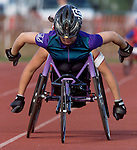 WHEEL CHAIR--23129--On Sun July 22,2001---wheel0722a--Hillsbough resident 17 yr old Jessica Galli leads Shirley Reilly of Los Gatos, CA in the 1st heat of the women's 5000 meter race at Bauer Track on the Rutgers University during the 2001 Jr. National WheelChair Championship that started this afternoon. (MARK R. SULLIVAN)