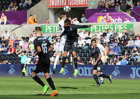 SWANSEA, WALES - MARCH 25: Isreal Leon of Porto and Ryan Blair of Swansea City contend for the aerial ball during the Premier League International Cup Semi Final match between Swansea City and Porto at The Liberty Stadium on March 25, 2017 in Swansea, Wales. (Photo by Athena Pictures)