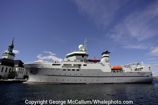 Marine Research Ship G.O.Sars at dock in home port of Bergen, Norway