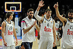 Real Madrid´s Rudy Fernandez, Sergio Llull, Jaycee Carroll and Andres Nocioni during 2014-15 Euroleague Basketball match between Real Madrid and Zalgiris Kaunas at Palacio de los Deportes stadium in Madrid, Spain. April 10, 2015. (ALTERPHOTOS/Luis Fernandez)