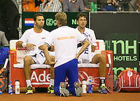 September 13, 2014, Netherlands, Amsterdam, Ziggo Dome, Davis Cup Netherlands-Croatia, Doubles, Haase/Rojer on the Dutch Bench with captain Jan Siemerink<br /> Photo: Tennisimages/Henk Koster