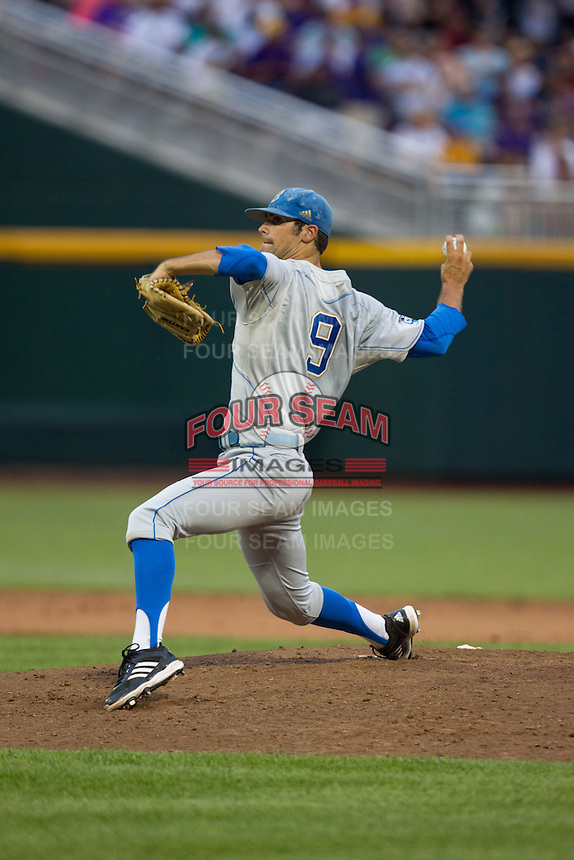 UCLA Bruins pitcher Adam Plutko #9 pitches during Game 4 of the 2013 Men's College World Series between the LSU Tigers and UCLA Bruins at TD Ameritrade Park on June 16, 2013 in Omaha, Nebraska. The Bruins defeated the Tigers 2-1. (Brace Hemmelgarn/Four Seam Images)