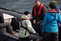 Elyn Stubblefield on a Zodiac preparing to land on Campbell island, New Zealand.