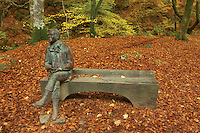 Robert Burns statue and the Birks of Aberfeldy in autumn, Aberfeldy, Perthshire