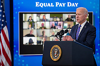 US President Joe Biden delivers remarks during an event to mark Equal Pay Day in the State Dining Room of the White House in Washington, DC, USA, 24 March 2021. Equal Pay Day marks the extra time it takes an average woman in the United States to earn the same pay that their male counterparts made the previous calendar year.<br /> CAP/MPI/RS<br /> ©RS/MPI/Capital Pictures