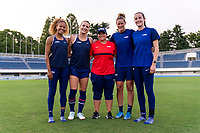 TOKYO, JAPAN - JULY 20: Casey Krueger #20, Julie Ertz #8, Emily Fortunato, Alyssa Naeher #1 and Tierna Davidson #12 of the USWNT pose for a photo after a training session at the practice fields on July 20, 2021 in Tokyo, Japan.