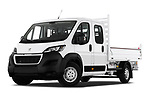 Stock pictures of low aggressive front three quarter view of 2019 Peugeot Boxer PRO-SR 4 Door Chassis Cab Low Aggressive
