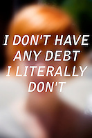"""Anonymous portrait taken in Cambridge, Massachusetts, USA,  paired with text answering the question: How much do you owe?  The project was produced as a look at personal debt for Longshot Magazine #2.  ..The person's response here reads: """"I don't have any debt. I literally don't."""""""