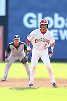 Max Pentecost #6 of the Vancouver Canadians runs the bases during a game against the Hillsboro Hops at Nat Bailey Stadium on July 24, 2014 in Vancouver, British Columbia. Hillsboro defeated Vancouver, 7-3. (Larry Goren/Four Seam Images)