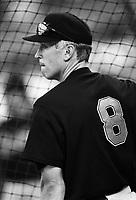 Cal Ripken,jr. of the Baltimore Orioles at Anaheim Stadium in Anaheim,California during the 1996 season. (Larry Goren/Four Seam Images)