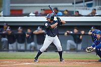 Gustavo Campero (24) of the Pulaski Yankees at bat against the Burlington Royals at Burlington Athletic Stadium on August 25, 2019 in Burlington, North Carolina. The Yankees defeated the Royals 3-0. (Brian Westerholt/Four Seam Images)