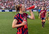 EAST HARTFORD, CT - JULY 5: Becky Sauerbrunn #4 of the USWNT drinks during a game between Mexico and USWNT at Rentschler Field on July 5, 2021 in East Hartford, Connecticut.