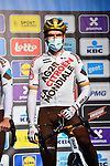 Greg Van Avermaet (BEL) AG2R Citroen Team at sign on before the start of the 76th edition of Omloop Het Nieuwsblad 2021 running 200km from Gent to Ninove, Belgium. 27th February 2021  <br /> Picture: Serge Waldbillig | Cyclefile<br /> <br /> All photos usage must carry mandatory copyright credit (© Cyclefile | Serge Waldbillig)
