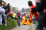 Part of the breakaway group Sven Erik Bystrom (SWE) UAE Team Emirates on the pave during the 116th edition of Paris-Roubaix 2018. 8th April 2018.<br /> Picture: ASO/Pauline Ballet | Cyclefile<br /> <br /> <br /> All photos usage must carry mandatory copyright credit (© Cyclefile | ASO/Pauline Ballet)
