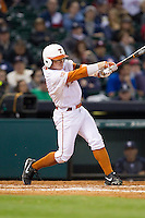 Zane Gurwitz #50 of the Texas Longhorns follows through on his swing against the Rice Owls at Minute Maid Park on February 28, 2014 in Houston, Texas.  The Longhorns defeated the Owls 2-0.  (Brian Westerholt/Four Seam Images)