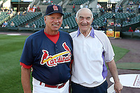 June 20th 2008:  Former Major League Manager Joe Altobelli with Dyar Miller, a roving coach for the St. Louis Cardinals, during a game at Frontier Field in Rochester, NY - home of the Rochester Red Wings.  Photo by:  Mike Janes/Four Seam Images