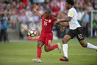 Commerce City, CO - Thursday June 08, 2017: Darlington Nagbe, Mekeil Williams during a 2018 FIFA World Cup Qualifying Final Round match between the men's national teams of the United States (USA) and Trinidad and Tobago (TRI) at Dick's Sporting Goods Park.