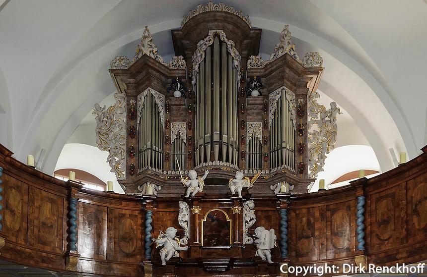 Dauphinorgel in der evangelischen Kirche in  Kleinheubach am Main, Bayern, Deutschland
