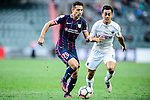 Thomas Lam of SC Kitchee (l) is chased by Cameron Neru of Auckland City (r) during the Nike Lunar New Year Cup 2017 match between SC Kitchee (HKG) and Auckland City FC (NZL) on January 31, 2017 in Hong Kong, Hong Kong. Photo by Marcio Rodrigo Machado / Power Sport Images