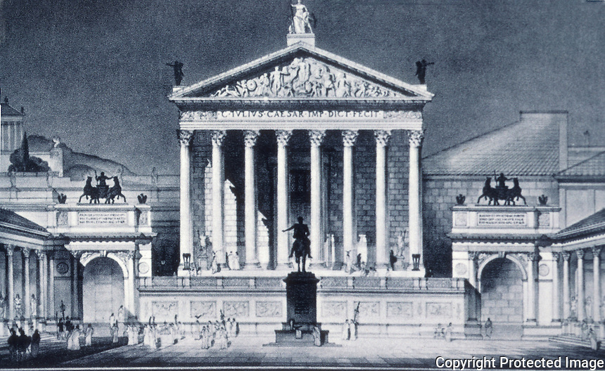 Rome: Forum of Caesar, Reconstruction. Frank G. Brown, ROMAN ARCHITECTURE, 1967. Ref. only.
