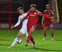 Blackpool's Jordan Williams battles with Accrington Stanley's Matt Butcher<br /> <br /> Photographer Dave Howarth/CameraSport<br /> <br /> EFL Trophy Northern Section Group G - Accrington Stanley v Blackpool - Tuesday 6th October 2020 - Crown Ground - Accrington<br />  <br /> World Copyright © 2020 CameraSport. All rights reserved. 43 Linden Ave. Countesthorpe. Leicester. England. LE8 5PG - Tel: +44 (0) 116 277 4147 - admin@camerasport.com - www.camerasport.com