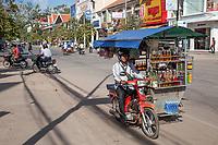 Cambodia, Siem Reap Street Scene.  Motorized Soft-drink Vendor.