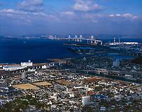 aerial photograph of the Seto Ohashi Bridge from Marugame, Shikoku, Japan