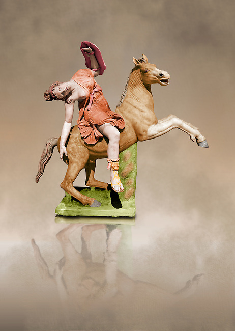 Painted colour verion of Roman marble sculpture of an Amazon on horseback, a 2nd century AD copy from an original 2nd century BC Hellanistic Greek original, inv 6407, Naples Museum of Archaeology, Italy
