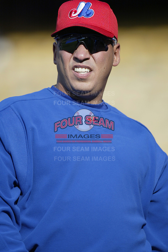 Andres Galarraga of the Montreal Expos before a 2002 MLB season game  against the Los Angeles Dodgers at Dodger Stadium, in Los Angeles, California. (Larry Goren/Four Seam Images)