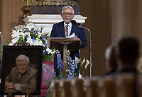 Francois Gerin-Lajoie, son of Paul Gerin-Lajoie speaks at his father's funeral in Montreal, Thursday, August 9, 2018. THE CANADIAN PRESS/Graham Hughes