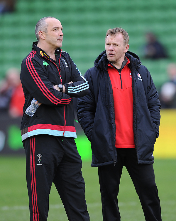 Conor O'Shea, Harlequins Director of Rugby, with Mark McCall, Saracens Director of Rugby, before kick off of the Premiership Rugby match between Harlequins and Saracens - 09/01/2016 - Twickenham Stoop, London<br /> Mandatory Credit: Rob Munro/Stewart Communications