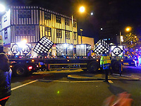 """Pictured: The third float at the Christmas parade in Swansea, Wales, UK. Sunday 19 November 2018<br />Re: Swansea Christmas parade attended by thousands has been branded a """"shambles"""" for having just three floats.<br />The annual festive event in south Wales, which took place on Sunday, promised """"dynamic dance-troupes"""" as well as """"spectacular shows and stages"""".<br />But the parade was scaled down, leading to a barrage of criticism on social media because of roadworks in the city centre. <br />The leader of Swansea Council, Rob Stewart apologised on Facebook and said the parade was not """"good enough"""".<br />Parents took on social media to voice their anger, calling the event """"a load of rubbish"""" and claiming there was nothing for young children apart from """"a loud music float with Santa on""""."""
