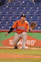 Bowie Baysox outfielder Chris Marrero (33) waits for a throw during a game against the Binghamton Mets on August 3, 2014 at NYSEG Stadium in Binghamton, New York.  Bowie defeated Binghamton 8-2.  (Mike Janes/Four Seam Images)