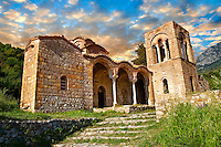 The ruins of the Byzantine Church of St Sophia in the Monastery of Christ The Giver Of Life built by Manuel Kantakouzenos in the late 1300's.  Mystras ,  Sparta, the Peloponnese, Greece. A UNESCO World Heritage Site