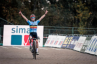 Eli Iserbyt (BEL/Pauwels Sauzen-Bingoal) crossing the finish line and becoming European Champion<br /> <br /> UEC Cyclocross European Championships 2020 - 's-Hertogenbosch (NED)<br /> <br /> Elite MEN<br /> <br /> ©kramon