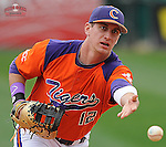 First baseman Jon McGibbon (12) of the Clemson Tigers prior to a game against the South Carolina Gamecocks on Saturday, March 2, 2013, at Fluor Field at the West End in Greenville, South Carolina. Clemson won the Reedy River Rivalry game 6-3. (Tom Priddy/Four Seam Images)