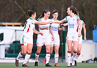 OHL  players pictured celebrating after scoring a goal during a female soccer game between Oud Heverlee Leuven and SV Zulte-Waregem on the 16 th matchday of the 2020 - 2021 season of Belgian Womens Super League , sunday 14 th of March 2021  in Heverlee , Belgium . PHOTO SPORTPIX.BE | SPP | DAVID CATRY