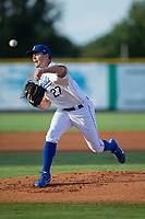 Burlington Royals starting pitcher Daniel Tillo (27) delivers a pitch to the plate against the Danville Braves at Burlington Athletic Stadium on August 15, 2017 in Burlington, North Carolina.  The Royals defeated the Braves 6-2.  (Brian Westerholt/Four Seam Images)