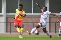 Christopher Wooh (5) of Rc Lens and Jackson Muleka (17) of Standard de Liege pictured during a friendly soccer game between Racing Club De Lens and Standard de Liege  during the preparations for the 2021-2022 season , on wednesday 7 of July 2021 in Billy Montigny , France . PHOTO DIRK VUYLSTEKE   SPORTPIX