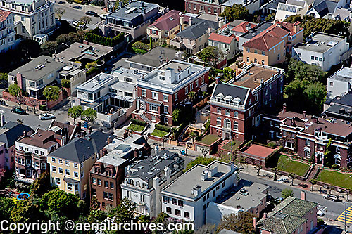 aerial photograph of homes in Pacific Heights, San Francisco, California