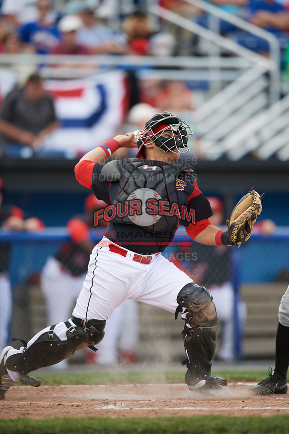 Batavia Muckdogs catcher Bryan De La Rosa (15) throws down to second base to catch a runner stealing during a game against the West Virginia Black Bears on June 25, 2017 at Dwyer Stadium in Batavia, New York.  West Virginia defeated Batavia 6-4 in the completion of the game started on June 24th.  (Mike Janes/Four Seam Images)