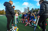 From left: Liz Thompson, Tarryn Davey and Frances Davies. Vantage Black Sticks hockey community session prior to the upcoming Sentinel Homes Trans-Tasman Series at Twin Turfs in Palmerston North, New Zealand on Tuesday, 25 May 2021. Photo: Dave Lintott / lintottphoto.co.nz