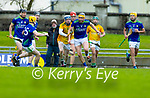 Brendan O'Leary, Kerry, in action against Nickolas Potterton, Meath during the Round 1 meeting of Kerry and Meath in the Joe McDonagh Cup at Austin Stack Park in Tralee on Sunday.