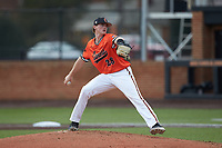 Campbell Camels starting pitcher Jonathan Beymer (28) in action against the Dayton Flyers at Jim Perry Stadium on February 28, 2021 in Buies Creek, North Carolina. The Camels defeated the Flyers 11-2. (Brian Westerholt/Four Seam Images)